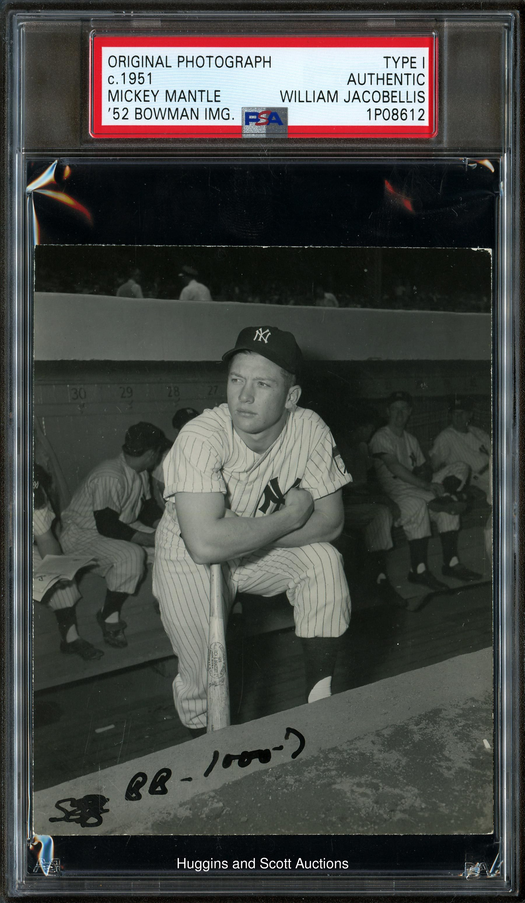 1951 Mickey Mantle Rookie Contact Proof Original Photo By Jacobellis