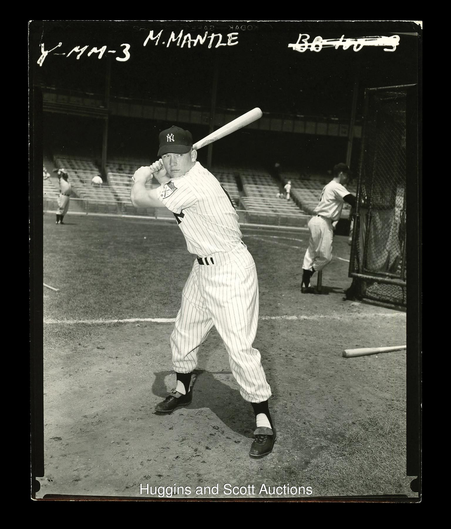 1951 Mickey Mantle Rookie Contact Proof Original Photo By